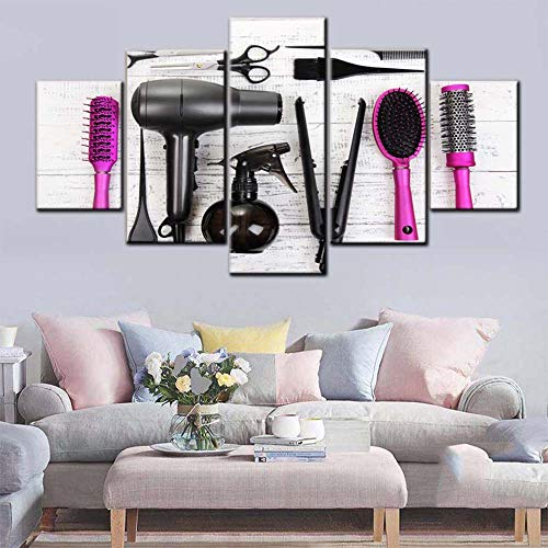 Beauty Salon Pictures Wall Decor of Hair Hairdressing Tools Wall Art Contemporary Artwork 5 Panel Printed on Canvas Pink Paintings for Home Giclee Framed Ready to Hang in Living Room(60
