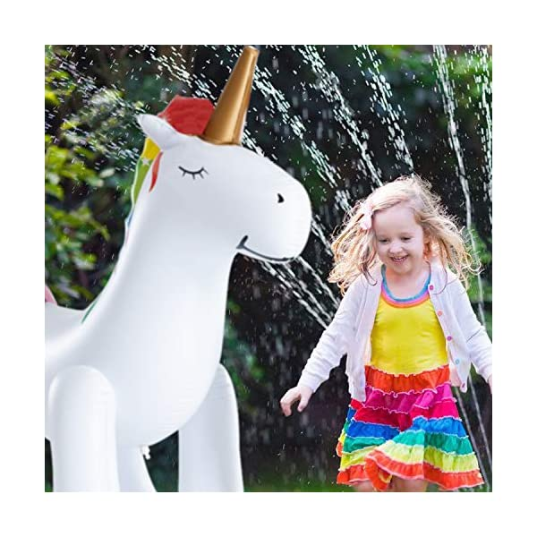 Leader Accessories Unicorn/ Elephant/ Crocodile Sprinkler Inflatable Water Toys (Unicorn Sprinkler 5.8ft) 9