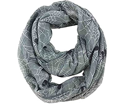 Lina & Lily Spider and Web Print Women's Infinity Loop Scarf Halloween Accessory