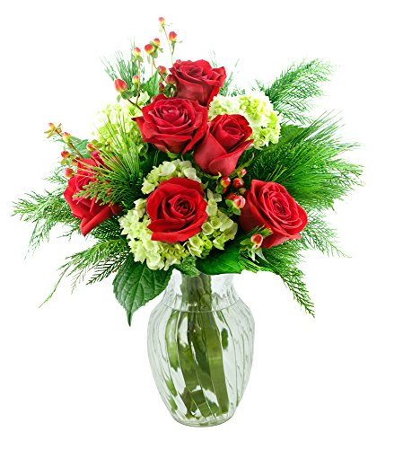 KaBloom Holiday Collection: Season's Greetings with Red Roses and Green Hydrangeas with Vase
