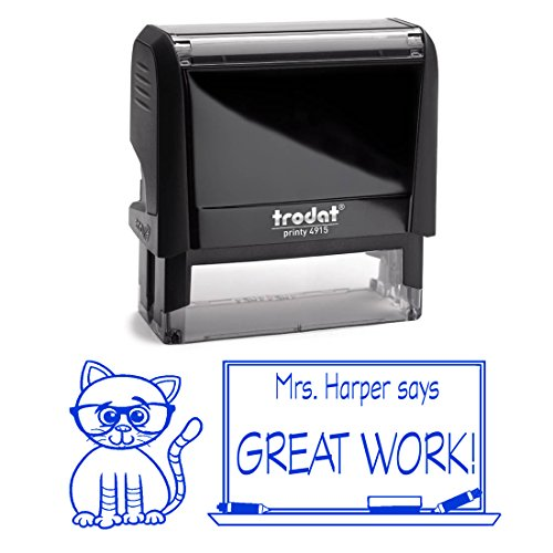 Blue Ink, Cat Wearing Glasses, Great Work Custom Teacher Stamp, Slef Inking, Homework Personalized School Work Stamp, Customized Unique Gift, Personal Classroom Stamper by Pixie Perfect Stamps