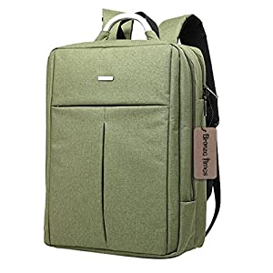 Bronze Times (TM) Unisex 15.6 inch T-shape Top Canvas Busniess Travel Computer Backpack (B-Green)