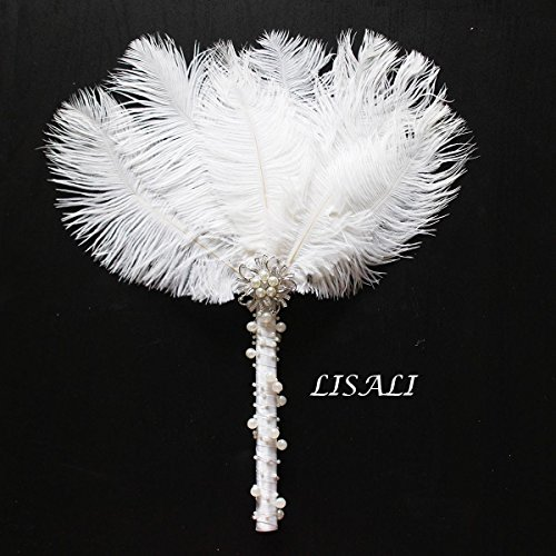 LISALI 12'' Ostrich Feather Bouquet, Bridesmaid Vintage Brooch Bouquet, Fan Peacock Handfasting, 20s Pearl Feather Fan by LISALI USA