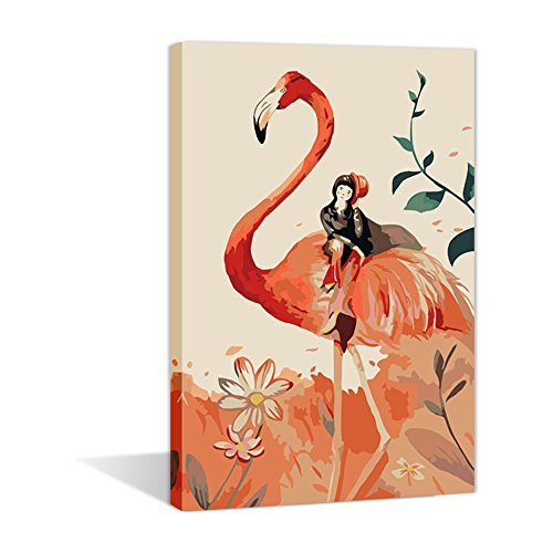 Sunlight Oil Painting ,DIY Wall Art Paint By Number Kits For Kids-Flamingo and Girl 16X20inch