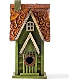 "Glitzhome 11.93"" H Hanging Distressed Wooden Garden Bird House, Green"