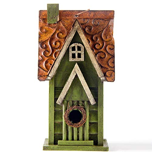 Glitzhome Tall Green Hand Painted Wood Birdhouse, 11.93""