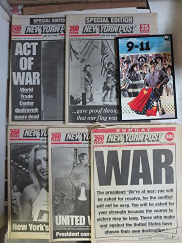 New York Post Lot of 5 Post 9/11 newspapers w/9/11 comic book 9/12/01-9/16/01