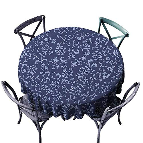ScottDecor Picnic Round Tablecloth Fabric Tablecloth Floral,Victorian Baroque Style Classic Swirled Flowers with Damask Effects Pattern, Indigo Violet Blue Diameter 36