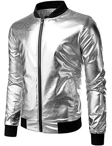 ZEROYAA Mens Hipster Geek Metallic Shinny Solid Paisley Floral Slim Fit Zip Up Baseball Varsity Bomber Jacket Z47 Silver Large -