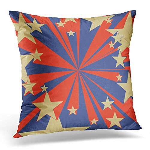TOMKEYS Throw Pillow Cover Blue Book Flying Stars Pop Comic Red Stamp Super Decorative Pillow Case Home Decor Square 20x20 Inches Pillowcase