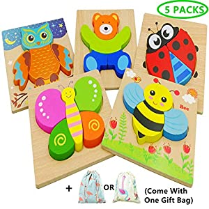 Diojilad Wooden Jigsaw Puzzles for Toddlers Educational Toys for 1 2 3 Years Old, Color Shapes Cognition Skill Learning Toys with 5 Cute Animal Puzzles for Girls & Boys