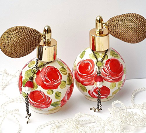 (Romantic Hand Painted Red Rose Glass Victorian Perfume Bottle Atomizer with Swarovski Crystal Pearls)