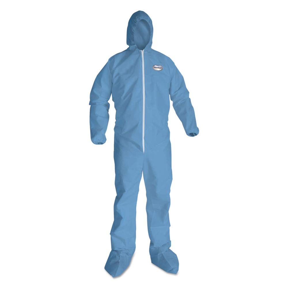 KleenGuard KCC 45356 A65 Hood & Boot Flame-Resistant Coveralls, Blue, 3x-Large, 21/carton by KLEENGUARD (Image #2)