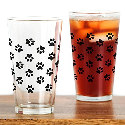 CafePress Black Pawprint Pattern Pint Glass, 16 oz. Drinking Glass