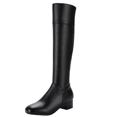 Women Comrfort Mid Block Heels Long Boots Knee High