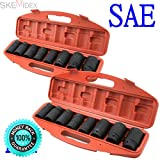 SKEMiDEX---Set SAE+MM 18PC Shallow Impact Sockets Set HD Size 1'' 1-1/2'' 26mm - 50mm Wrench. Drop Forged & Heat Treated Chrome-Vanadium, Chrome Plated Comes with plastic case