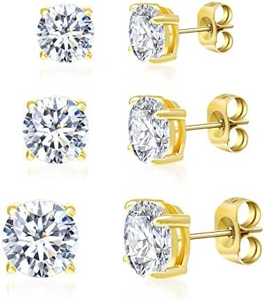 Sterling Silver Round Cubic Zirconia 3-Pair Stud Earring Set