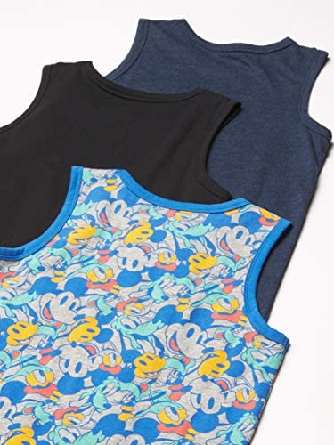 51NUhgGsQ8L. AC Amazon Brand - Spotted Zebra Boys' Disney Star Wars Marvel Sleeveless Tank Top T-Shirts    An Amazon brand - Our personality-packed, coordinated pieces come in multipacks full of mix-and-match styles, so kids enjoy inventing new outfits every morning. With bright colors and fun prints and graphics, Spotted Zebra lets your child's spirit shine through - and makes parents happy, too. ImportedMachine WashSuper-style powers unite! Spotted Zebra has teamed up with Disney, Star Wars and Marvel to create the cutest, totally courageous, instantly collectible kidswear. Only on Amazon.Bright colors and bold graphics make this pack of tanks a must-have pick for distinctive styleTag-free neckline for added comfort—because nothing should get in the way of playOfficial Disney licensed product
