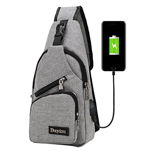 Crossbody Bag,Realdo USB Charging Port Outdoor Sports Casual Canvas Unbalance Backpack Messenger Sling Shoulder Grey