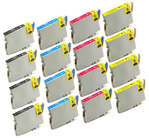 16 Pack Remanufactured Inkjet Cartridges for Epson T060 #60 T060120 T060220 T060320 T060420 Compatible With Epson Stylus C68, Stylus C88, Stylus C88Plus, Stylus CX3800, Stylus CX3810, Stylus CX4200, Stylus CX4800, Stylus CX5800F, Stylus CX7800 (4 Black, 4
