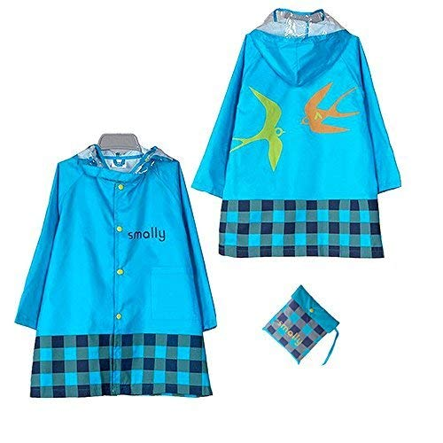 KUYOU Kid Rain Coat,Cartoon Waterproof Children's Raincoat Lightweight for Ages 3-12 Years Old Girls and Boys 4 Size,(Blue ()