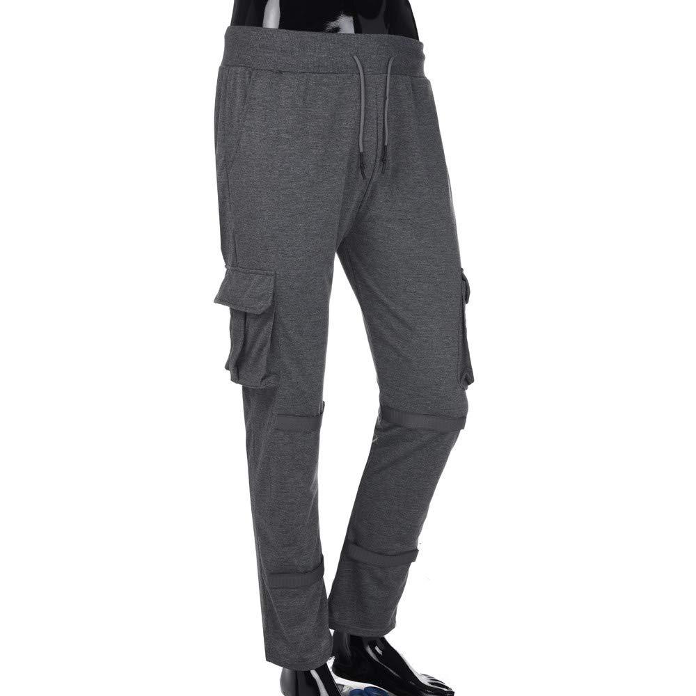 YanHoo Pantalones de Hombre Pantalón de Entrenamiento en Color Liso para Hombre Hombres Color Puro Bolsillo de Bolsillo Casual Pocket Sport Trabajo ...