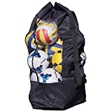 Extra Large Mesh Equipment Bag Big Capacity Holds up to 15 Soccer Balls Rugby Netball Basketball Football Bags Heavy Duty Sports Duffel Carrying Bag Storage Tote- Adjustable Drawstring&Shoulder Strap