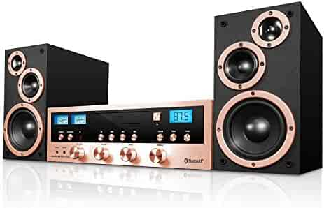Innovative Technology Classic Retro Bluetooth Stereo System with CD Player, FM Radio, Aux-In, and Headphone Jack, Rose Gold and Black