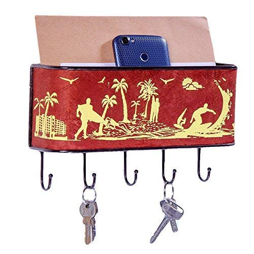 (Barkclothed Key and Mail Holder for Wall Decorative, Key Rack Organizer for Entryway, Mail Organizer, Key Holder, Letter Holder - Reddish Brown, Beach Life Print)