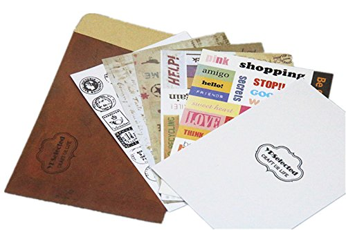 6 Blatt Vintage Mitteilungs Aufkleber Craft Stempel Papieraufkleber Deco Geschenk