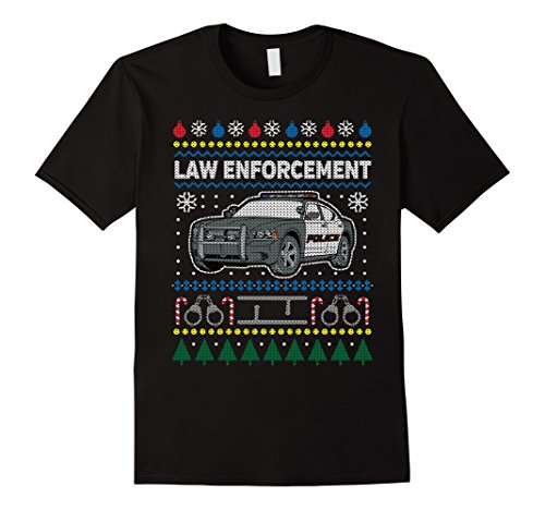Men's Ugly Christmas Sweater Law Enforcement T-shirt