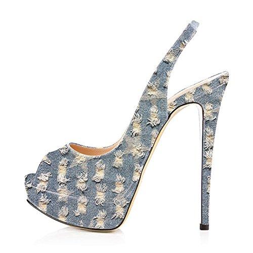 Women Peep Toe Platform Sandals Slingback High Heels Party Stilettos Dress Shoes Light Denim Size 7
