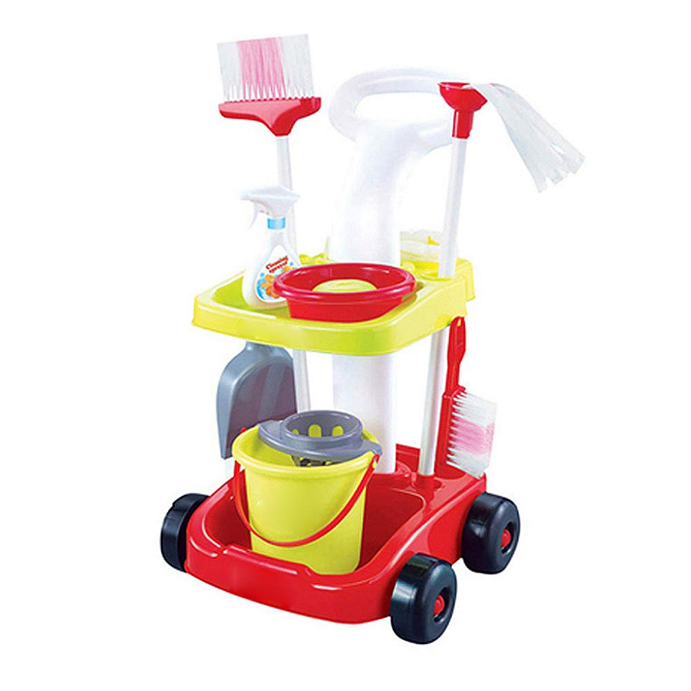 yehhad Housekeeping and Cleaning Carts Kid-Sized Mini Cleaning Trolley Set Carts for Children Pretend Toy Kit with Mops Buckets Brooms and Brooms, The for Toddler
