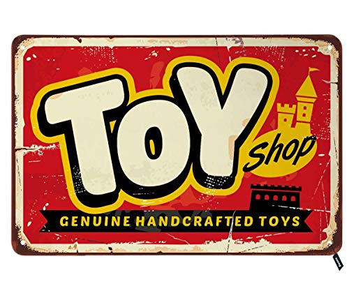 Swono Toy Shop Tin Signs,Genuine Handcrafted Toys Poster Vintage Metal Tin Sign for Men Women,Wall Decor for Bars,Restaurants,Cafes Pubs,12x8 Inch