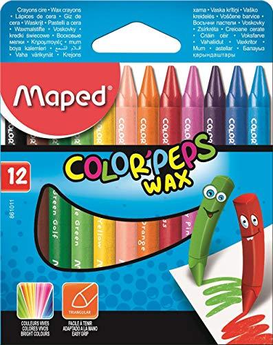 Giz de Cera Color Peps, Maped 46, Estojo 12 Cores Multicor