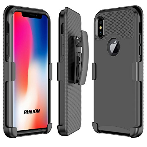 iPhone X Case, Rhidon Case Combo dual Layer Sport Cover with Holster Kickstand and Belt Swivel Clip for iPhone X (Black)