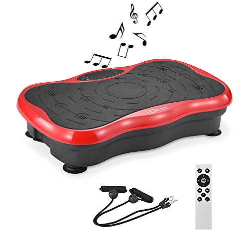 iDeer Vibration Platform Fitness Vibration Plates,Whole Body Vibration Exercise Machine w/Remote Control &Bands,Anti-Slip Fit Massage Workout Vibration Trainer Max User Weight 300lbs (Red09003)
