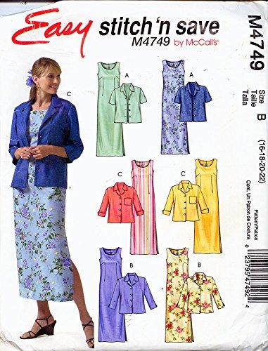 Miss Petite Unlined Jacket (McCall's M4749 ©2005 Misses/Miss Petite Unlined Jackets and Dress; Size B 16-22)