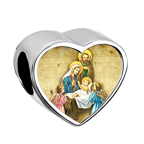 Q&Locket Heart Love Christmas Charms Snowman Snowflake Xmas Tree Santa Candy Photo Beads For Bracelets (Birth Of Jesus)
