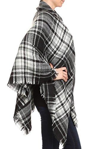 (AN White Plaid Blanket Scarves for Women Woven Oversize Knit Shawl Fringe)