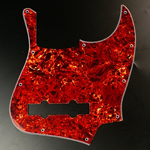 Custom bass Guitar Pickguard For Jazz Bass 5 String JB ,4ply Red Tortoise (Pickup String 5 Jazz)