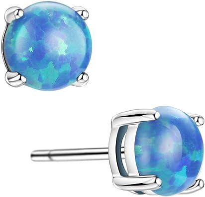 Blue Opal 4mm on 0.15 Inch Stone in Sterling Silver Stud Earrings
