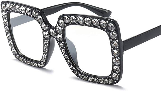 Oversized Square Frame Bling Rhinestone Cat Eye Retro Women Fashion Sunglasses