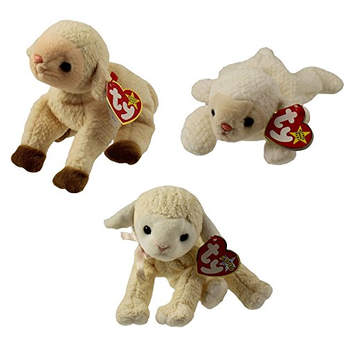 TY Beanie Babies - LAMBS (Set of 3) (Ewey, Fleece & Fleecie) (5.5-7.5 - Beanie Babies Fleece Ty