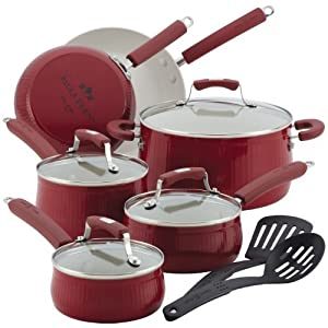 Paula Deen Savannah Collection Aluminum Nonstick 12-Piece Nonstick Cookware Set, Red by Paula Deen