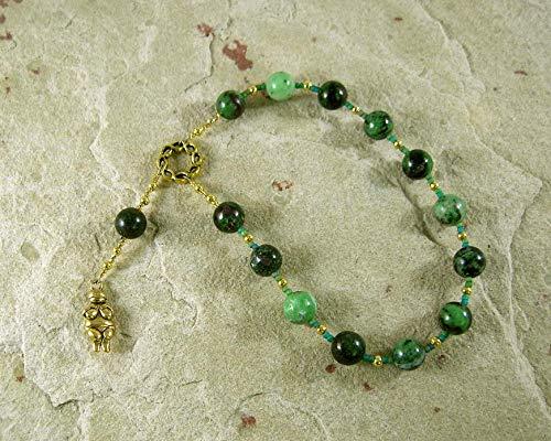 Goddess Prayer Beads with Venus of Willendorf/Fertility Goddess Pendant in Ruby/Zoisite