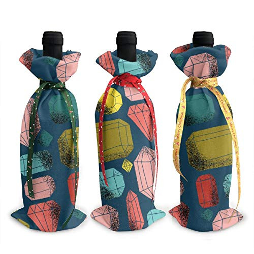 Dbou Grungy-Gemstone-Pattern Novelty Colorful Eye Attract 3Pcs Wine Bottle Cover Decoration Cover Bags Wine Bottle Bags Party Gift Wedding Christmas 3Pcs