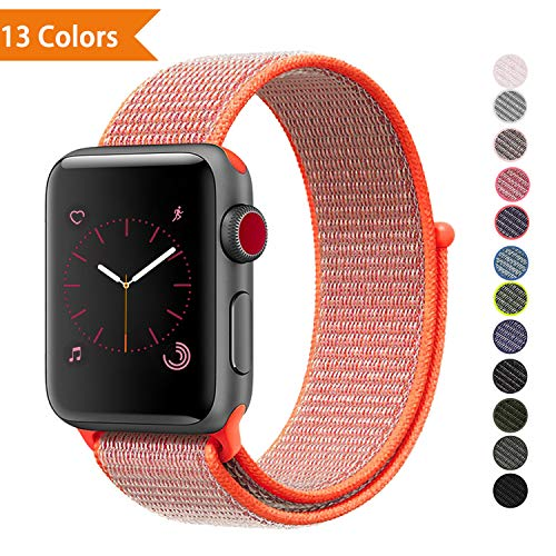 YOUKEX Sport Band Replacement for Apple Watch Bands Series 1,2,3,4, 38mm 42mm, Soft Nylon Sport Loop Wrist Band Compatible with iWatch Apple Watch(Works with 40mm, 44mm)