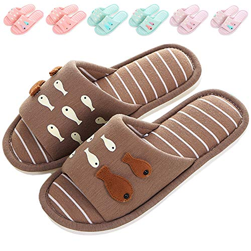 Home Shoes Brown Kids Slippers On Cute Slippers ML Women's House Open for Slippers Slip Indoor Toe Soft Memory Foam Outdoor Fish PHFwRqd