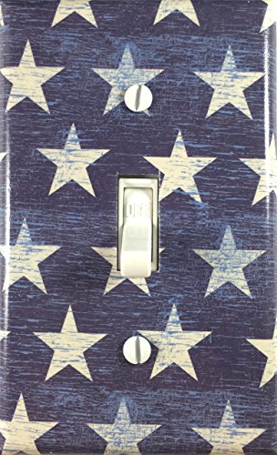 (Crackled American Flag Stars Country Decor Decorative Single Toggle Light Switch Wall Plate )